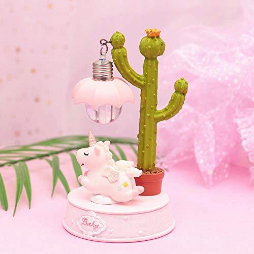 Veilleuse Kleine frische Kaktus Einhorn Nachtlicht kleine Tischlampe-Pink Éclairage idee cadeau ado fille
