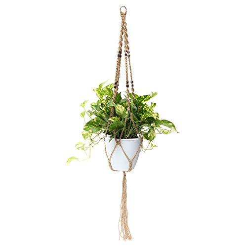kungfu Mall 121,9 cm 4 pieds macramé suspension pot de fleurs panier corde de jute perles