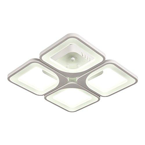 Lámpara de techo LED 2123 con control remoto, de color y brillo ajustables, con pantalla acrílica y marco de metal lacado en blanco 30.00 wattsW