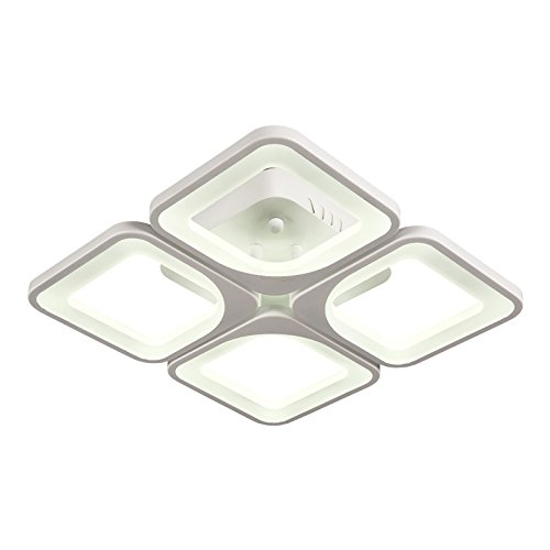 Eurotondisplay LED plafondlamp 2123 met afstandsbediening kleur/helderheid instelbaar acryl scherm gelakt metalen frame 2123-4 45 * 45 cm 30 W