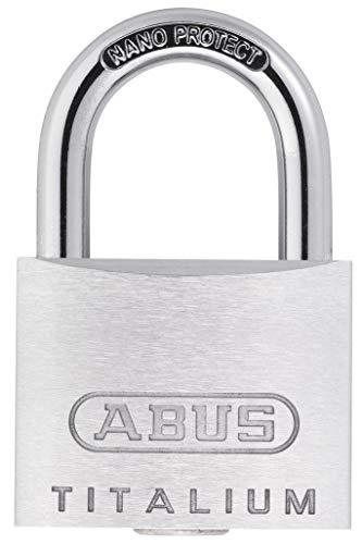 ABUS Vorhängeschloss Titalium 64TI/20 - Schlosskörper aus Spezial-Aluminium - gehärteter Stahlbügel - ABUS-Sicherheitslevel 3 - Silber