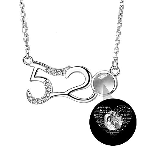 Collar de foto personalizado Collar personalizado Collar de proyección 100 idiomas TE AMO Collar Número 520 Colgante(Plata Blanco y negro 22)