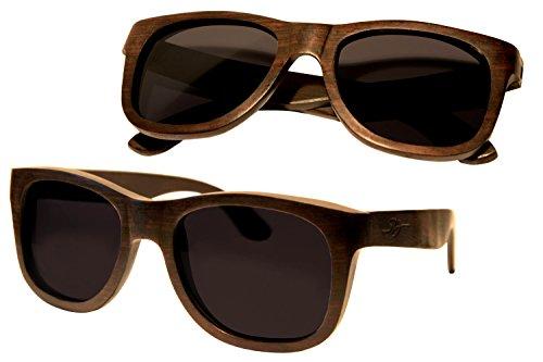 S&J Gafas de sol de madera caqui (Diospyros) - 100% Natural - Marrón oscuro - Protección UV - Marcado CE - Hechas a mano con madera natural, con bisagras de dos vías - Polarizadas