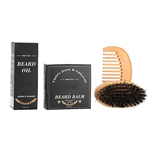 Kit de peine de barba, juego completo de aceite para barba ideal para hombres y cuidado de barba para uso diario