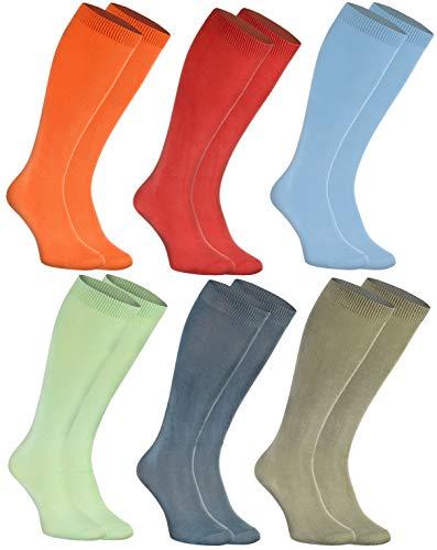 Rainbow Socks - Donna Uomo Gambaletti di Bambù - 6 Paia - Jeans Verde Blu Rosso Arancio Verde Oliva - Tamaño 42-43