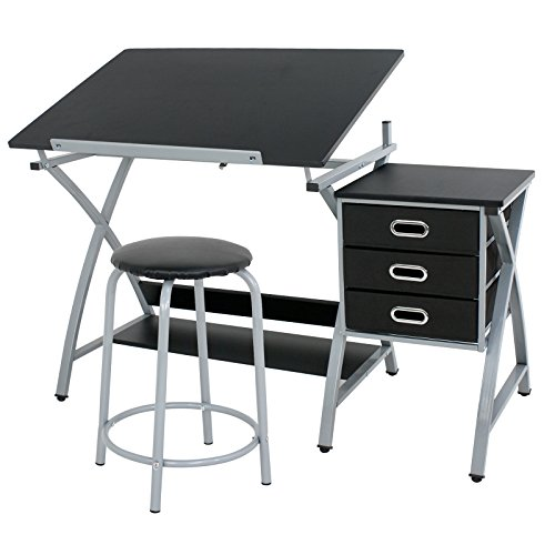 ZENY Drafting Table Craft Drawing Desk with Drawers Tilted Tabletop Art Hobby Crafting Table Artist Architect Desk with Padded Stool