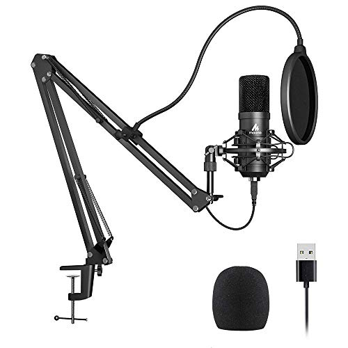 USB Microphone Kit 192KHZ/24BIT Plug & Play MAONO AU-A04 USB Computer Cardioid Mic Podcast Condenser Microphone with Professional Sound Chipset for PC Karaoke, YouTube, Gaming Recording