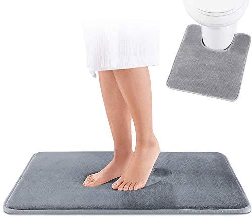 WOLKE SIEBEN Memory Schaum Badematten Badteppich Set 2 teilig I WC Teppich Vorleger mit Ausschnitt 51 x 61 cm + Badezimmerteppich rutschfest, waschbar 43 x 61 cm (grau)