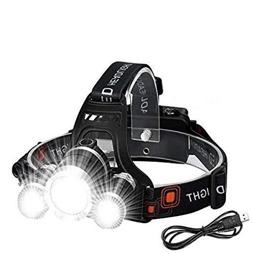 Torcia Frontale - Lampade da Testa LED USB 6000 Lumen Lampada Frontale, Luce Frontale Impermeabile Zoomable 4 modalità - modalità Torcia da Testa per Campeggio Corsa, Speleologia, Pesca, Ciclismo