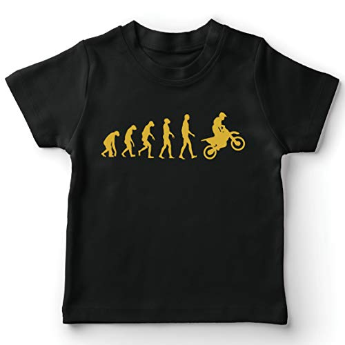 lepni.me Camiseta para Niño/Niña Evolución del Motocross Equipo de Moto Ropa de Carreras Todoterreno (7-8 Years Negro Oro)