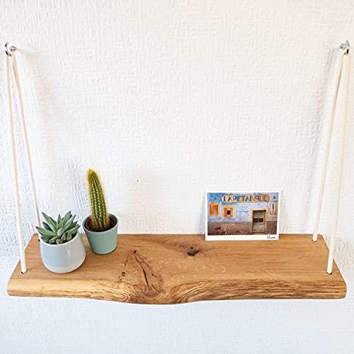 VILLANORD Hängeregal aus Eiche mit Baumkante im rustikalen Stil (60x17x3cm) - Massivholz Wandregal - inkl. Seil & Haken - Holz