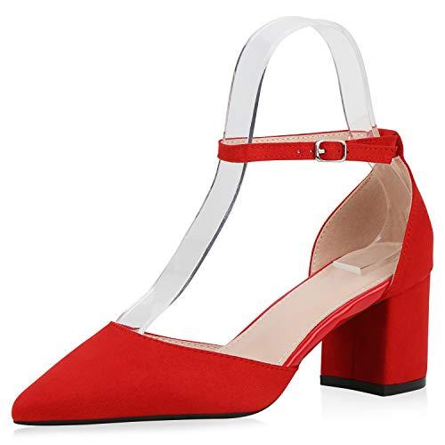 SCARPE VITA Damen Spitze Pumps Elegante Riemchenpumps Blockabsatz Schuhe Klassische Wildleder-Optik Spangenpumps 188053 Rot Total 36