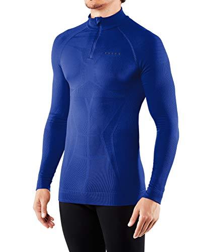 FALKE Maximum Warm, Couche De Base Zippée Manches Longues Homme, Sous-Vêtement Thermique Chaud, Bleu (Cobalt 6712), M, 1 Pièce