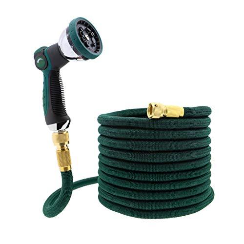 T24 Premium 15m Flexibler Multifunktion Gartenschlauch Set | 2 Wege Verteiler | Metall Halterung | 2 in 1 Messing Adapter | 3/4 Zoll und 1/2 Zoll