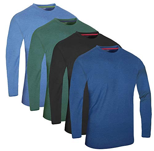 FULL TIME SPORTS® Tech 3 4 6 Pack Assorted Langarm-, Kurzarm Casual Top Multi Pack Rundhals T-Shirts (XXX-Large, 4 Pack - Long Sleeve blau Holzkohle Grün)
