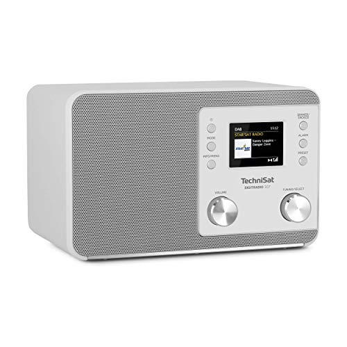 TechniSat Radio digitale 307 DAB Radio (DAB+, FM, ingresso AUX, ingresso per cuffie, memoria preferiti, sveglia, sleep timer, display orario e data) bianco