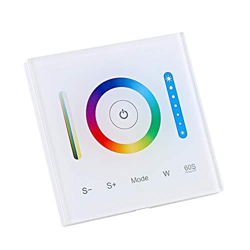 Controlador de panel táctil montado en la pared Controlador de atenuación para RGB RGBW RGB + CCT Cambio de color regulable LED Tira de iluminación Botón táctil con sonido