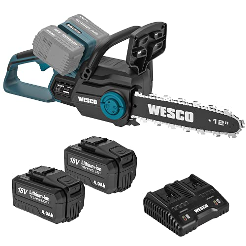 Chainsaw, WESCO 36V Cordless Chainsaw, 2Pcs 4.0Ah Li-ion Battery and Charger Included, Battery Chainsaw with 30 cm Cutting Bar, Tool-Free Chain Tensioning, Auto Chain Lubrication, Electric Chainsaw