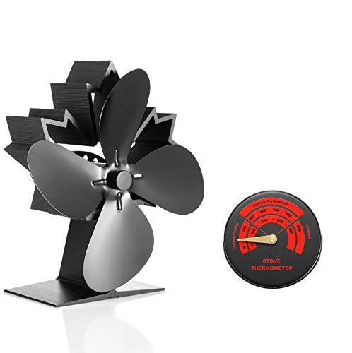Newest Upgrade Mini Stove Fan, CRSURE Small SF/624 Heat Powered Fan 4-Blade for Wood Burning Stove | Log Burner | Fireplaces, Wood Burner Fireplace Fan for Stoves with Thermometer