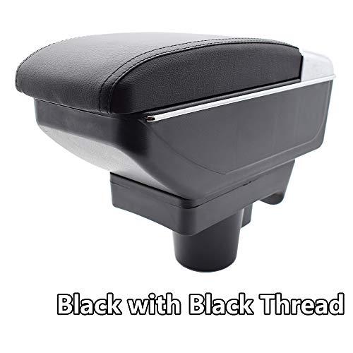Reposabrazos de piel negra de doble capa para Astra 2004-2008,Consola Caja de almacenamiento reposabrazos
