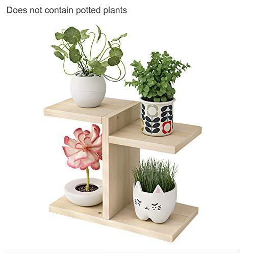 GRANDLIN Pflanzenständer aus Holz, 4 Etagen, vertikales Regal, für Balkon, Schlafzimmer, Büro, Blumen-Display, für den Außenbereich, Blumentopf-Halter für Garten und Terrasse beige