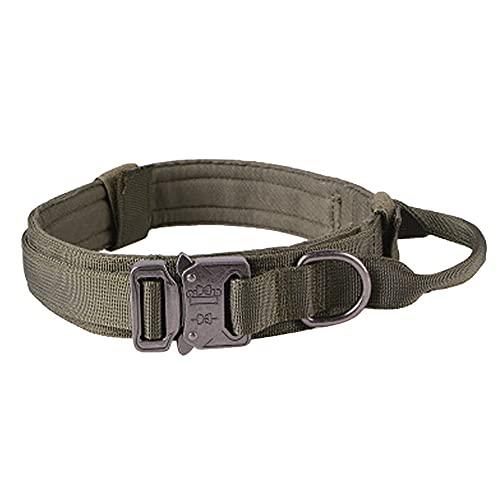 Mogzank Collar de Perro Collar de Perro de Nailon Ajustable Hebilla de Metal Resistente con Asa para Adiestramiento de Perros (Negro, M)
