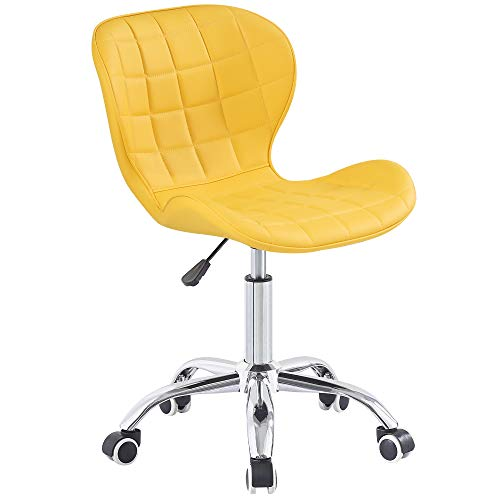 Charles Jacobs Swivel Office Chair with Chrome Base Wheels and Adjustable Height in Yellow