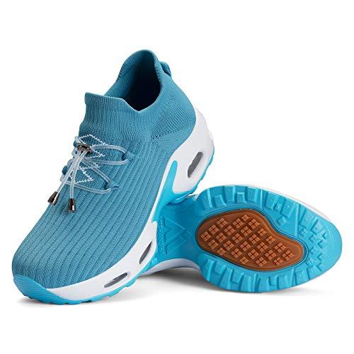 Mishansha Zapatos Deporte Mujer Running Zapatillas Mesh Transpirable Bambas Correr Gimnasio Casual Sneakers Azul A, Gr.37 EU
