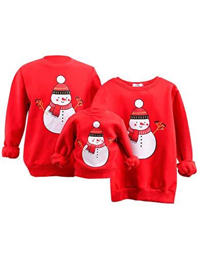 Weihnachtspullover Familie Set, Weihnachten Pullover Damen Herren Schneemann Lustiger Weihnachtspulli Kinder Jungen Mädchen Baby Strampler Weihnachts Sweatshirt Christmas Xmas Pulli (A1,L-Papa)