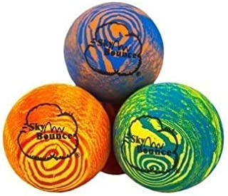 "Sky Bounce Balls Rainbow Color Rubber Handball for Recreational Handball (Hand Ball), Stickball, Racquetball, Catch, Fetch, and Many More Games 2 1/4"" Diameter Premium Hollow Rubber (Pack of 12)"