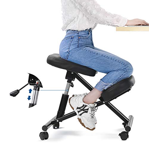 MaxKare Ergonomic Kneeling Chair Home Office Chairs with Height Adjustable for Corrective Posture Seat | Back & Neck Pain Relieving | Spine Tension Relief-Thicken Kneel Cushion 100% Recycled Foam