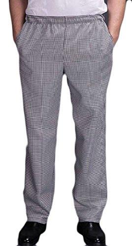 XQS Chef Uniforms Men's Black and White Checkered Elastic Waist Chef Pants XXS