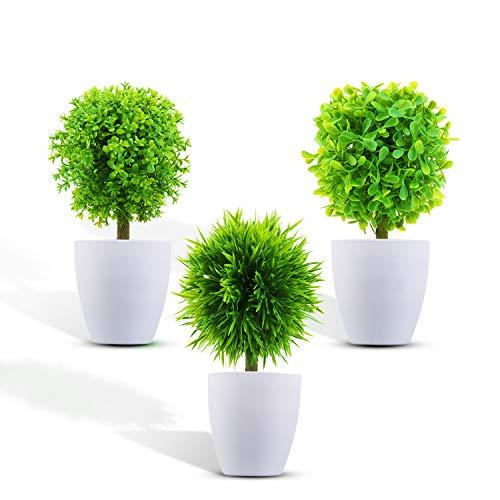KATELUO 3 Stücke Künstliche Pflanzen mit Töpfen, Künstliche Blumen Bonsai, kleinen Kunstpflanzen,Mini Kunstpflanzen für Raum Küche Bürotisch Badezimmer Garden Deko