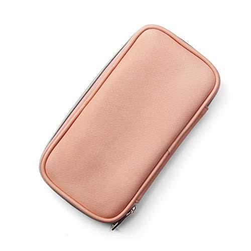 MAANGE化粧ポーチ化粧ブラシポーチコスメポーチ小物入れ機能的メイクポーチブラシ収納ポーチコンパクト高級PUレザー出張旅行持ち運びに便利(ピンク)