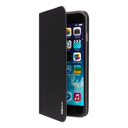 Ozaki OC558BK 0.3 Folio - stylische, dünne Klapp-Tasche aus widerstandsfähigem Kunstleder für das Apple iPhone 6 / 6S  - schwarz