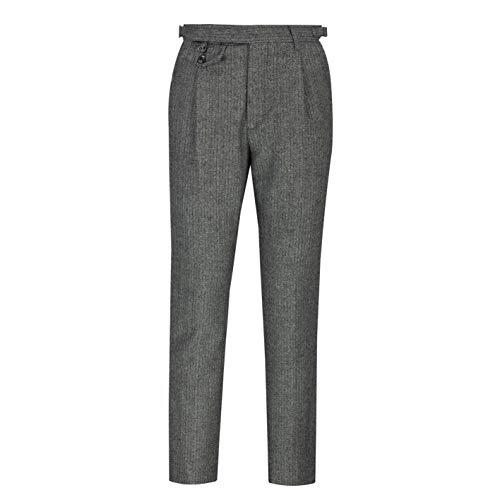 Xposed Herren Grau Braun Herringbone Tweed Weste Hosen zweireihiger Tailor Fit [TRS-NW-JAX-GRAU-42]