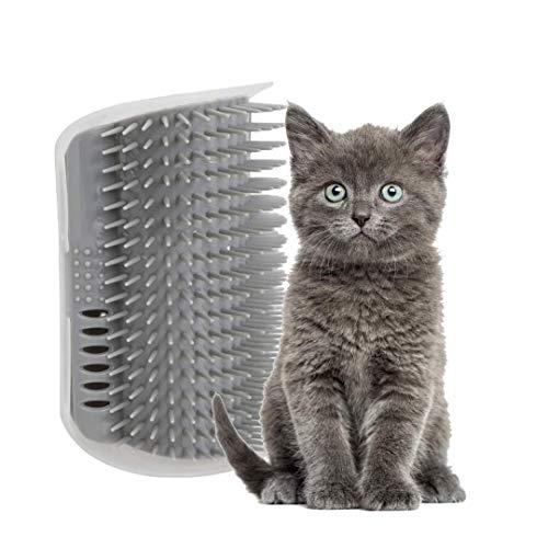 Pamura - Cat Cuddle Corner - Katzen Zubehör - Katzen Massage Ecke - Katzenbürste zur Fellpflege - inkl. Montagematerial - inkl. Katzenminze & Fach für Katzenminze - grau
