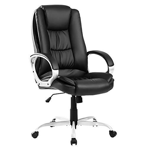 zcyg Silla de oficina ejecutiva grande para el hogar, cuero de lujo, giratoria, respaldo alto ajustable