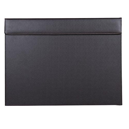 KINGFOM PUレザー ライティングボード ライティングパッド デスクマット 書きボード A3/A4ファイルペーパークリップ付き 下敷き(A-ブラウン 46*35cm)