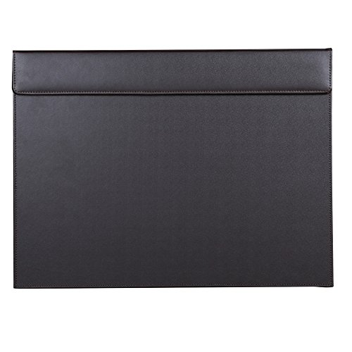 KINGFOM 18''x14'' Leather Desk Pad & Blotter, A3 Protector Writing Mat with Paper Clip Brown
