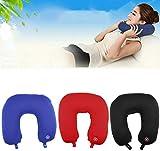 Kruvad Black Travel Pillow, U-Shaped Travel Neck Pillow Vibrating Microbead Neck Massage Cushion