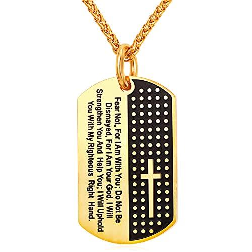 Minekkyes Collar con Colgante de oración con Etiqueta de Perro Cruzada de Acero Inoxidable para Hombre, Cadena de acera Militar, 3mm, 22 Pulgadas, versículo bíblico, joyería Cristiana
