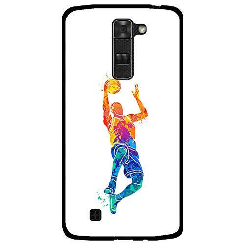 BJJ SHOP Funda Negra para [ LG K7 ], Carcasa de Silicona Flexible TPU, diseño : Jugador Baloncesto encestando la Pelota