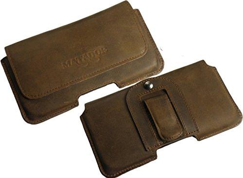 MATADOR Slim Design In Old Style Vintage Antik Echt Leder Tasche für BlackBerry Classic Handytasche Gürteltasche Quertasche mit GürtelClip Special Anfertigung Schutzhülle Etui Hülle in Tabacco