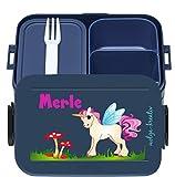 wolga-kreativ Brotdose Lunchbox Bento Box Kinder Einhorn rosa mit Namen Mepal Obsteinsatz für Mädchen personalisiert Brotbüchse Brotdosen Kindergarten Schule Schultüte füllen