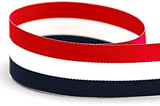 QIANF 3/8 Inch Red/White/Navy Striped Grosgrain Ribbon - 25 Yards(Multiple Widths & Colors Available)