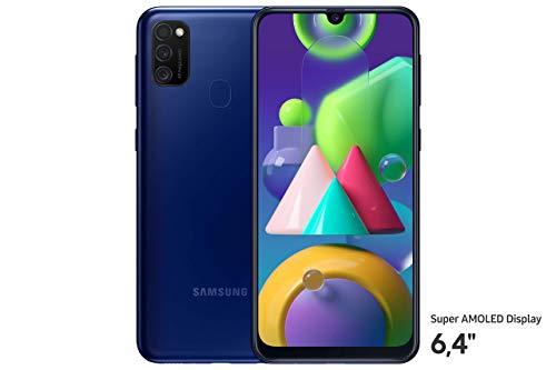 Samsung Galaxy M21 Android Smartphone ohne Vertrag, 3 Kameras, großer 6.000 mAh Akku, 6,4 Zoll Super AMOLED Display, 64 GB/4 GB RAM, Handy in blau, deutsche Version