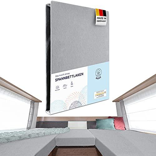 Beeke Sábana bajera prémium para caravana [3 piezas] – Sábana bajera elástica para cama trasera de caravana [fabricada en Alemania] con 97% algodón y 3% elastano [Oeko-Tex Standard 100 para bebés]