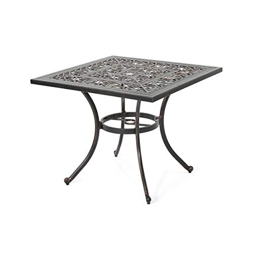 Christopher Knight Home Tucson Outdoor Square Cast Aluminum Dining Table (Table Only) by - 34.75' D x 34.75' W x 28.75' H