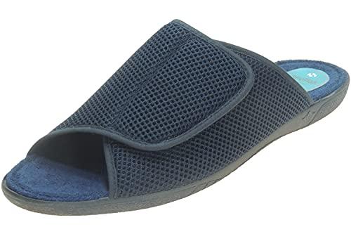 Zapatilla Hombre para Casa de Verano y Rejilla - Punta Abierta - Descalza - Velcro Ajustable - Piso Toalla Marino Talla 41